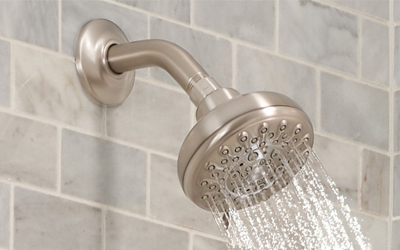 picture of a chrome shower head